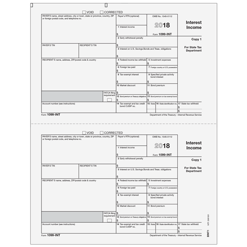Form 1099 Int Interest Income State Copy 1 Payer Bint105