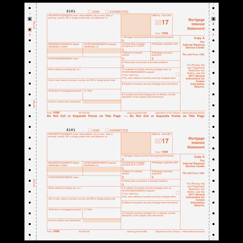1098 Forms 3 Part Carbonless Mortgage Interest Statement C1098053