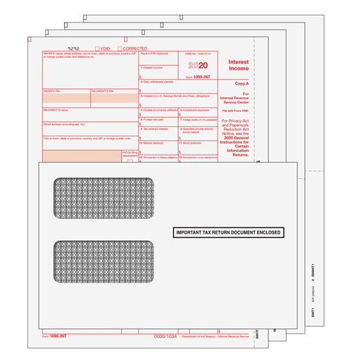 1099 Int Kit 4pt With Preprinted Forms And Moisture Seal Envelopes