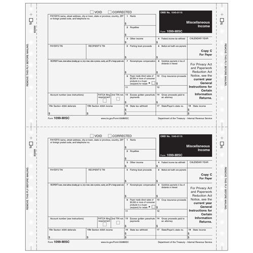 2up 1099 Misc Non Dated Electronic Reporting Form Self Mailer