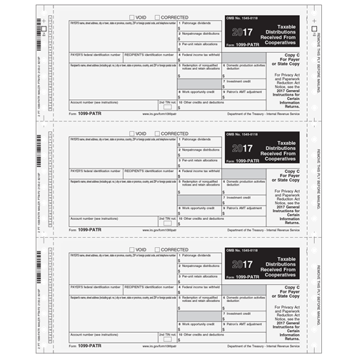 1099 Patr Electronic Reporting Form 2 Part 3up Self Mailer