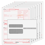 W-2 Set - 2up Preprinted for up to 10 filings with envelopes - 6 part (W2TRD6E10)